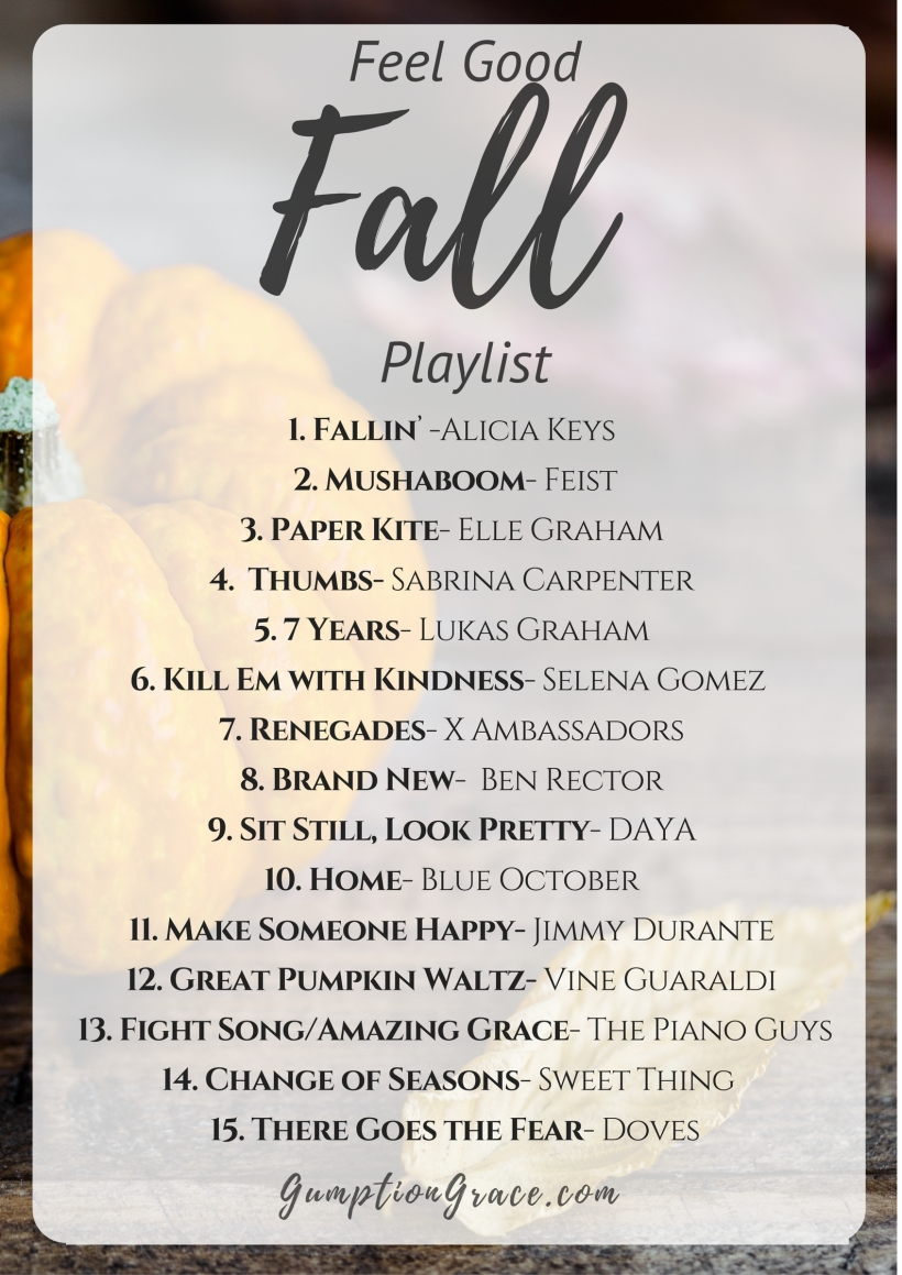 Feel Good Fall Playlist 2016- Perfect music mix of classic and hits for the crisp air, PSL filled car rides in the autumn. Music for your fall festivities! GumptionGrace.com